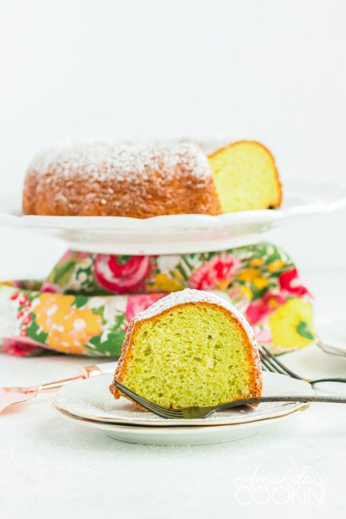 slice of pistachio cake on plate