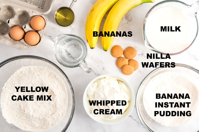 ingredients for banana pudding poke cake