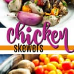 marinated grilled chicken skewers pin image