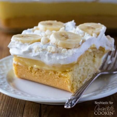 This delicious banana pudding poke cake recipe is quick and easy and perfect for a potluck. Use a cake mix for this beautiful poke cake dessert!
