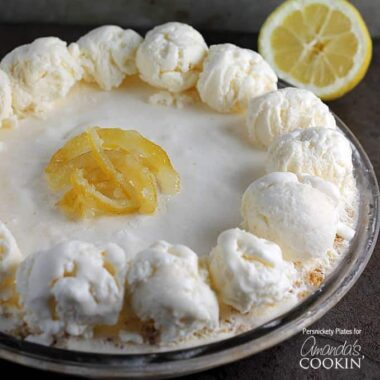A close up of frozen lemonade pie.