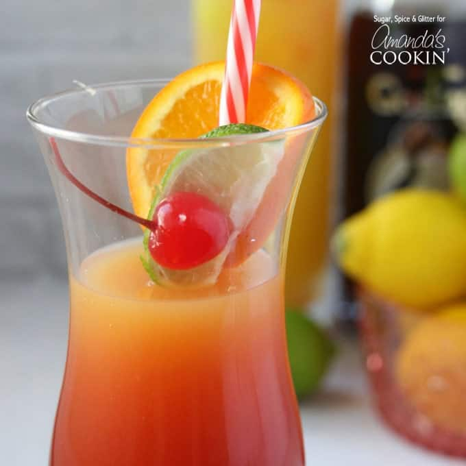 Enjoy the flavors of the Caribbean in this sunset themed rum drink!