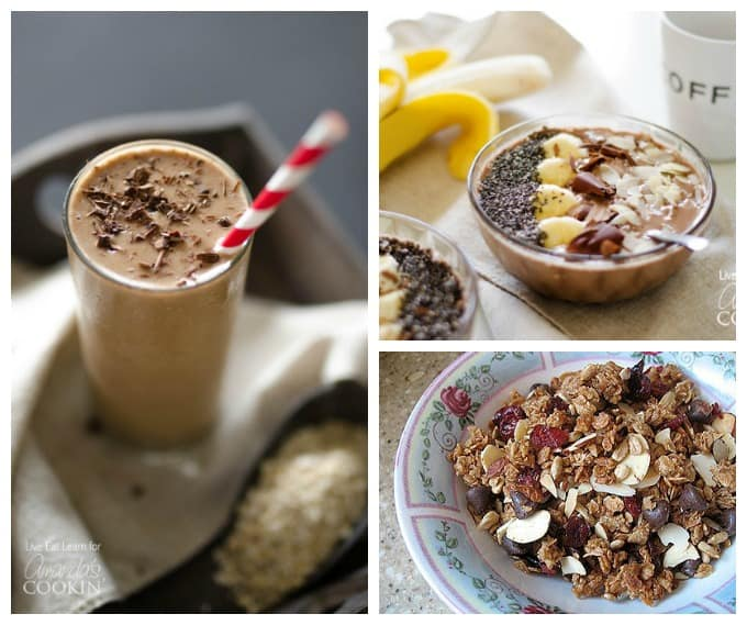 Photos of a loaded coffee breakfast smoothie, mocha smoothie bowl and homemade granola.