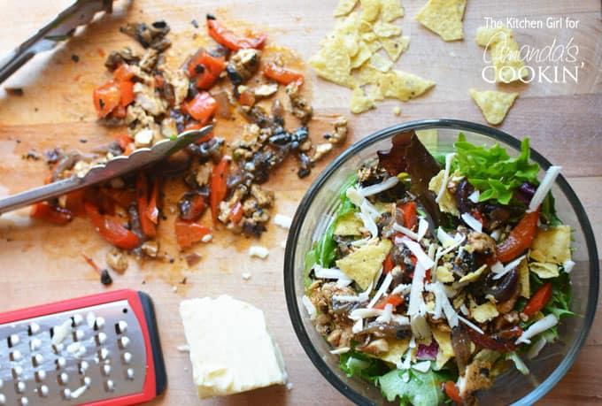 Chicken Fajita Salad in bowl