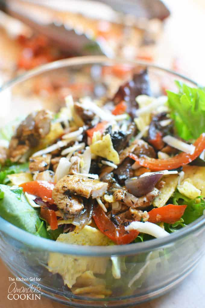 Chicken Fajita Salad mixed in a bowl