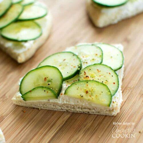cucumber sandwich on cutting board