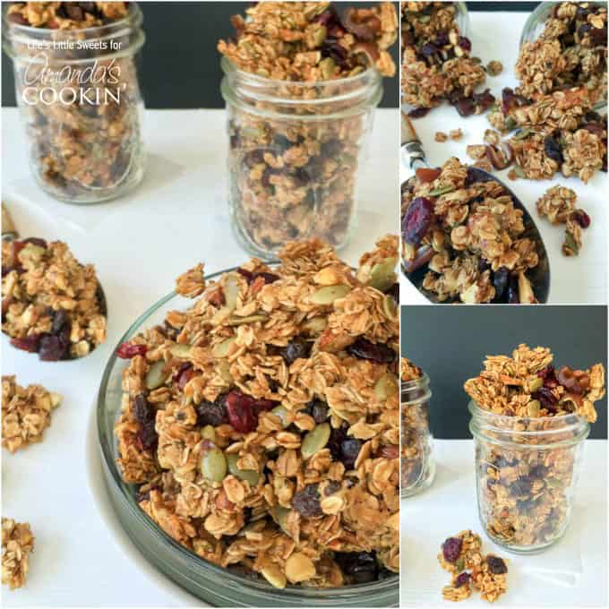 An assortment of photos of autumn harvest fruit and nut granola.