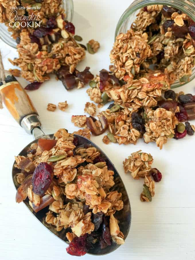 A close up photo of autumn harvest fruit and nut granola.