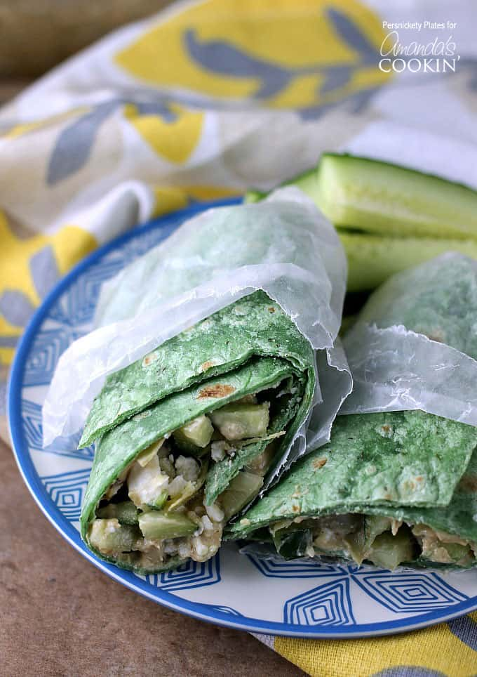 This Mediterranean Veggie Wrap is a fresh, healthy vegetarian sandwich filled with hummus, cucumber, artichokes, and feta, only five minutes to make.
