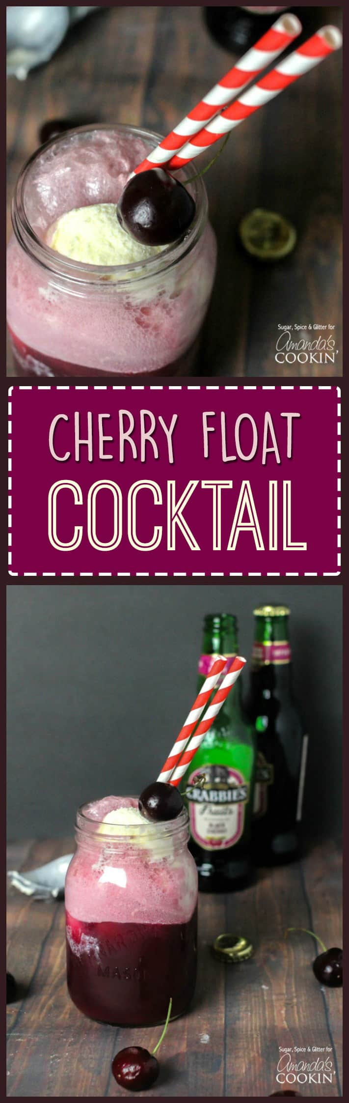 A photo of a cherry float cocktail.