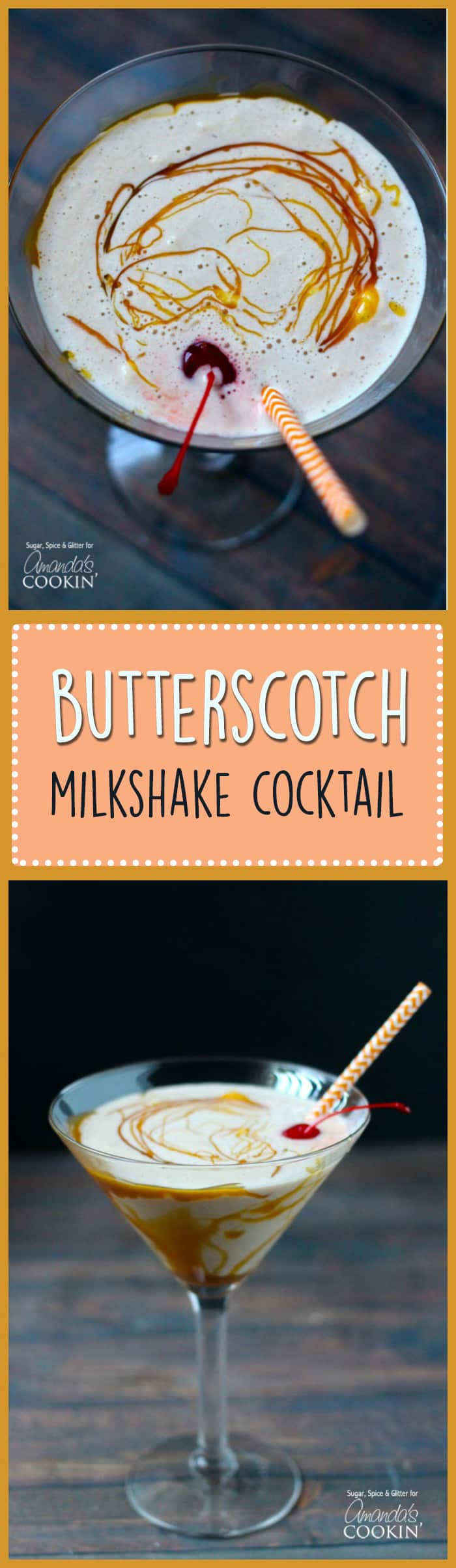 This creamy butterscotch milkshake cocktail is perfect for a hot summer day. Make different varieties by substituting Creme de Cacao or vanilla vodka .