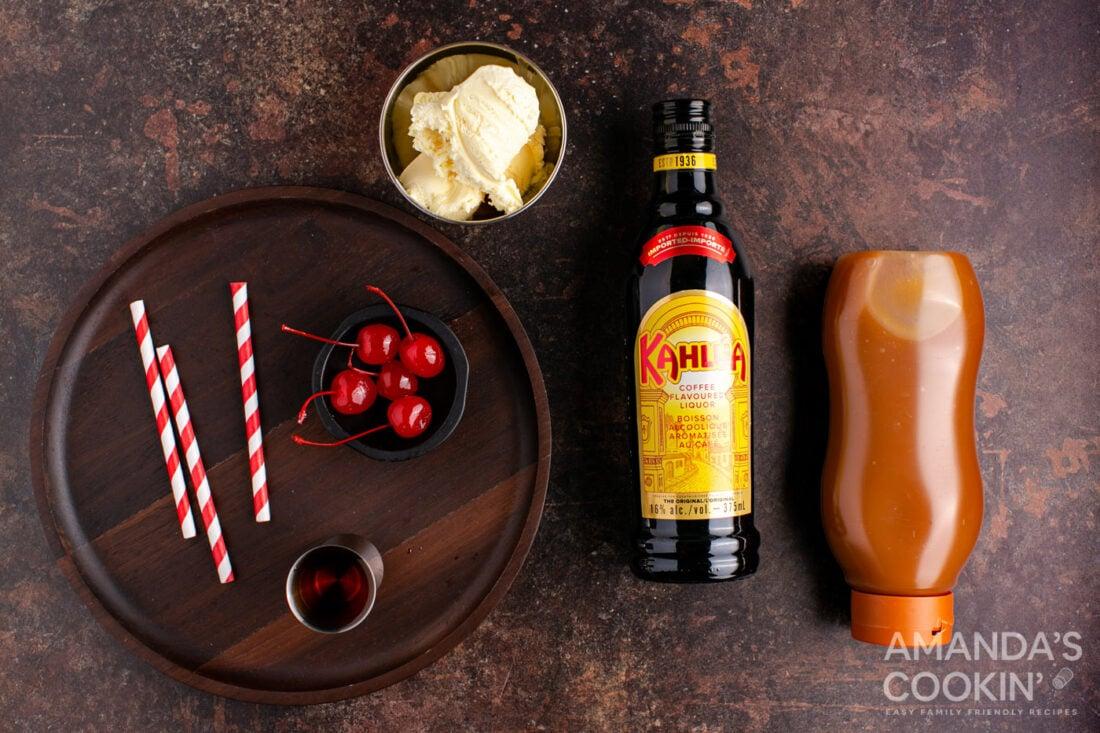 ingredients to make a butterscotch milkshake cocktail