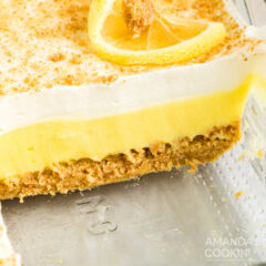 slice of lemon cheesecake pudding dessert