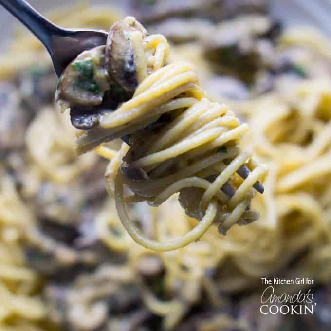 A close up of mushroom stroganoff swirled onto a fork.