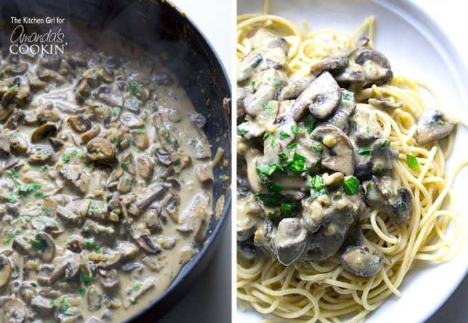 Two overhead pictures, one of a skillet of mushroom stroganoff and the other picture is mushroom stroganoff on a white plate.