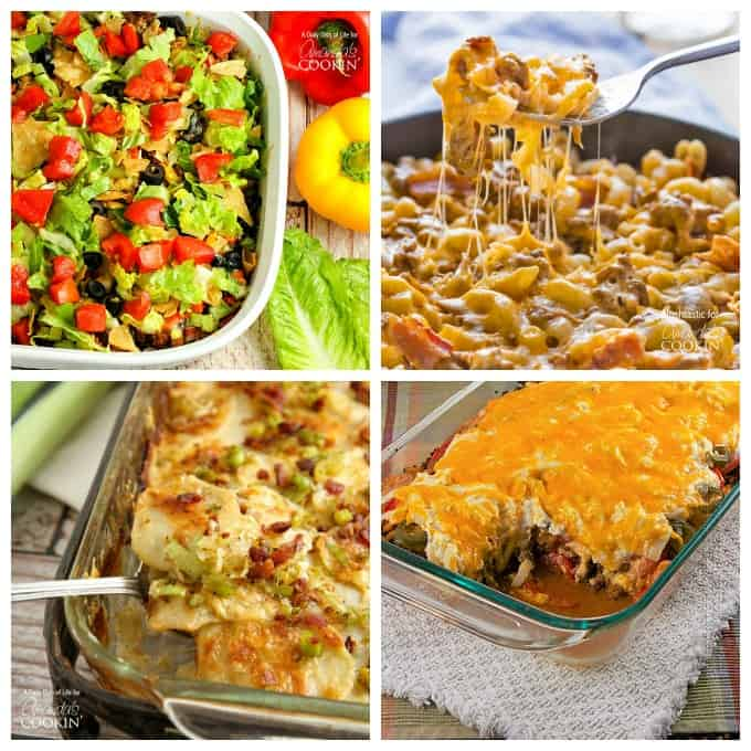An assortment of pictures of casseroles.