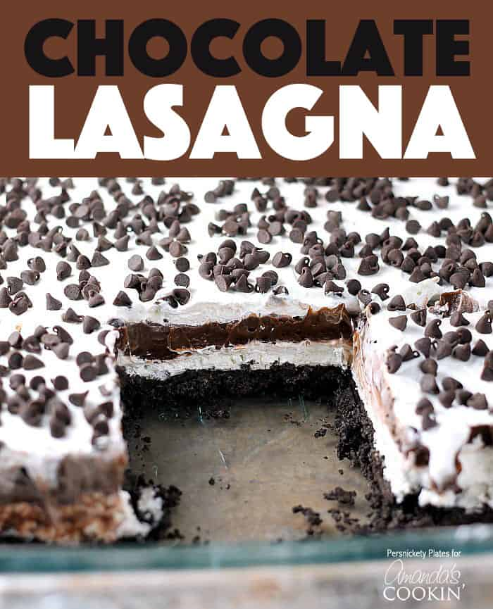 pan of chocolate lasagna dessert