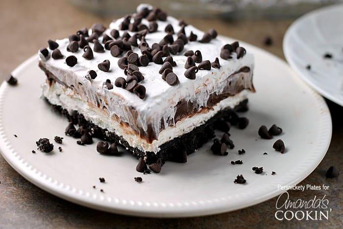Chocolate Lasagna layered chocolate and cream cheese dessert