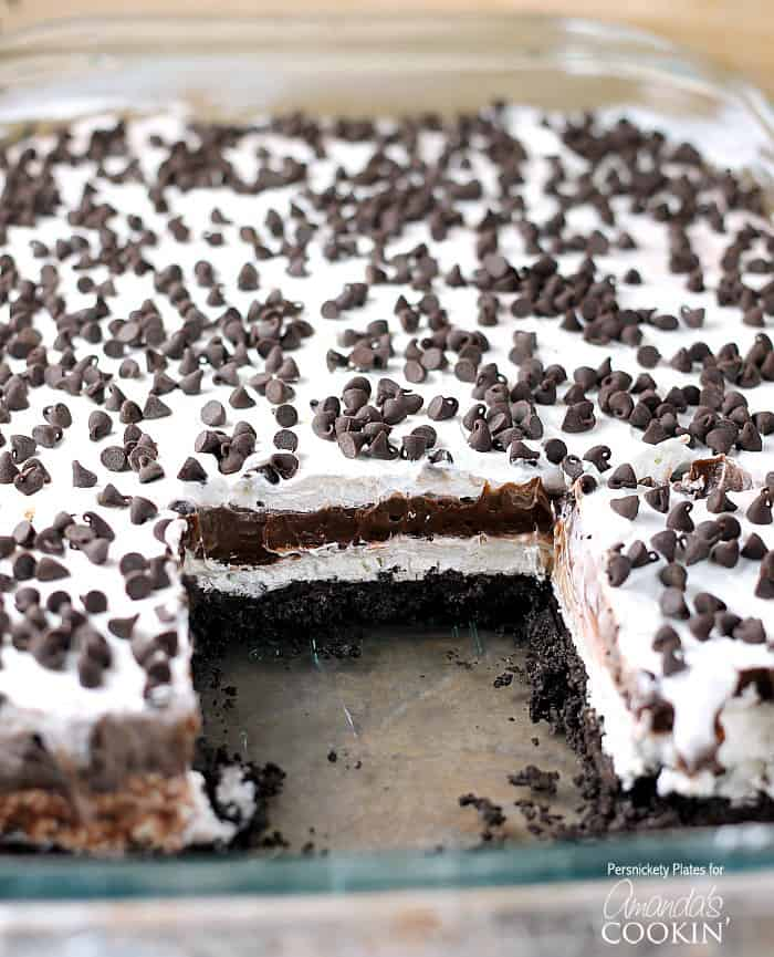 Chocolate lasagna is a no baked layered dessert made with cookies, cream cheese, whipped cream and chocolate pudding. It's a chocolate dessert dream!