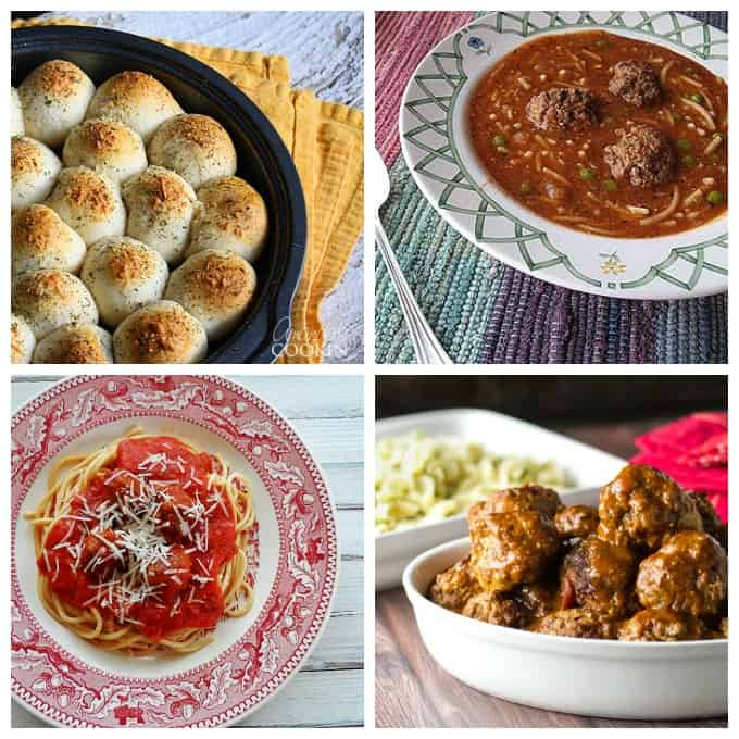 Delicious meatball recipes: meatball stuffed biscuits, meatball soup, spaghetti and meatballs and braised meatballs with buttered noodles. YUM!