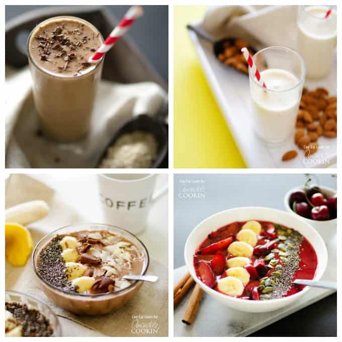 Delicious smoothies and smoothie bowl recipes including mocha smoothie bowl, coffee smoothie, stone fruit smoothie bowl made with plums and an almond maple smoothie.