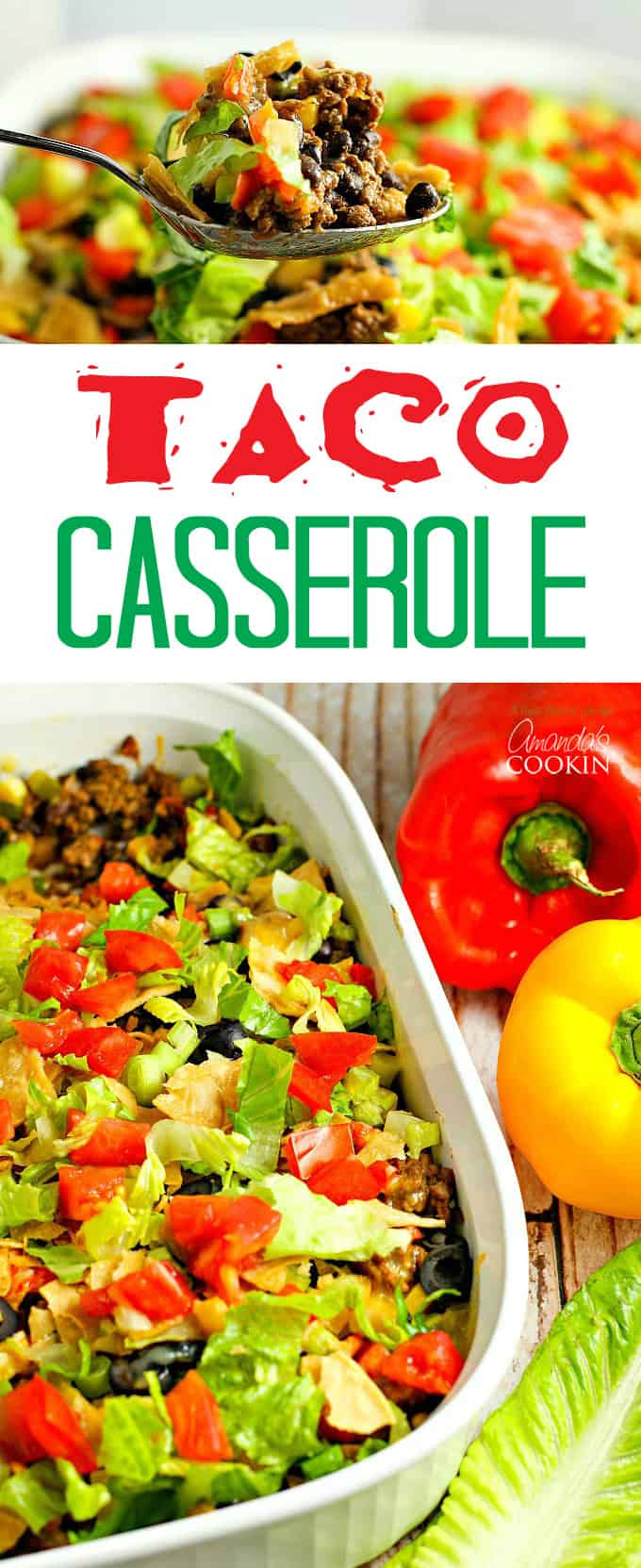 This delicious and hearty taco casserole will quickly become a family favorite. Seasoned beef, tasty beans, melty cheese and salsa with just enough chips!
