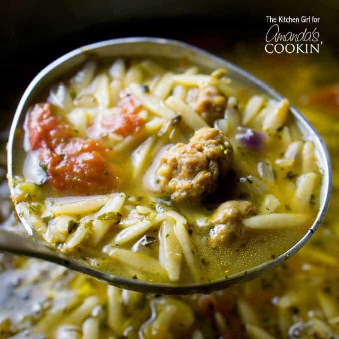 italian sausage tomato orzo soup in ladel