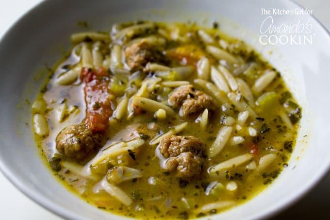 Italian Sausage Tomato Orzo Soup in a bowl