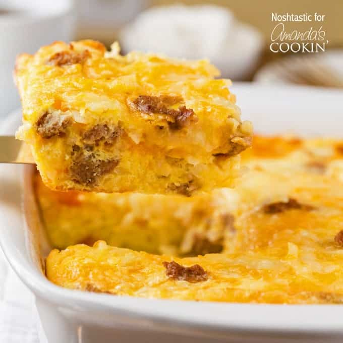 A close up of a square of turkey hash brown breakfast casserole on a spatula.