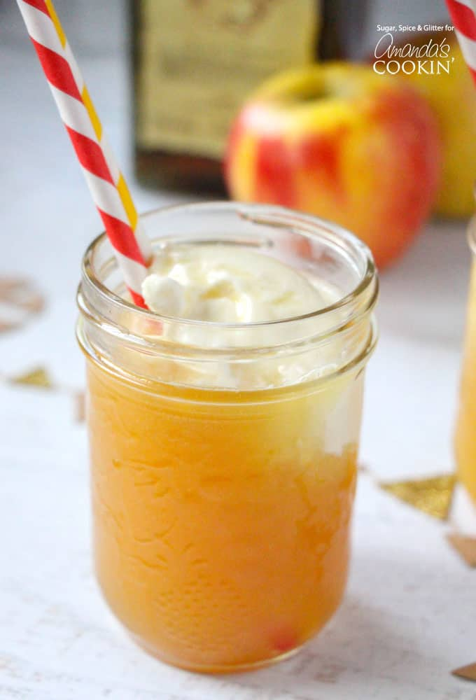 This apple pie cocktail has baked apple flavor like apple pie topped off with a scoop of vanilla ice cream. Use real apple cider in this drink!