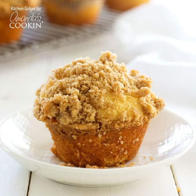 If you love coffee cake, you'll love these cinnamon streusel muffins! Soft vanilla muffins topped with cinnamon and brown sugar crumble are sure to please!