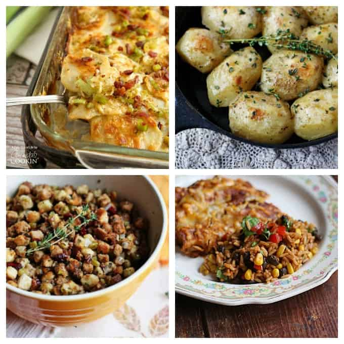 Photos of Potatoes Au Gratin, potatoes roasted in a cast iron skillet, stuffing with parsley, sage, rosemary & thyme and Spanish rice with black beans and corn.