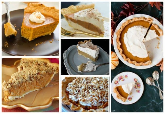 Several different pictures of pies.