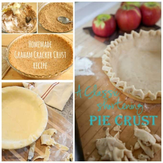 Photos of the steps to make a homemade graham cracker crust and a photo of a shortening pie crust.