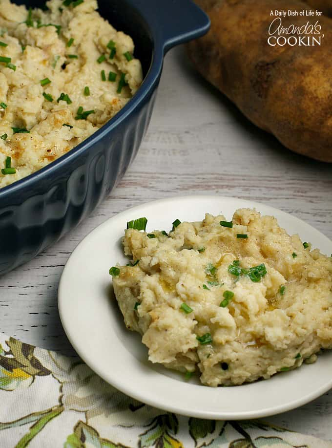 A plate of brown butter mashed potatoes.