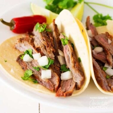 carne asada steak in a tortilla