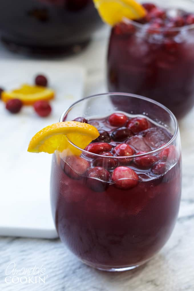 glass of cranberry sangria