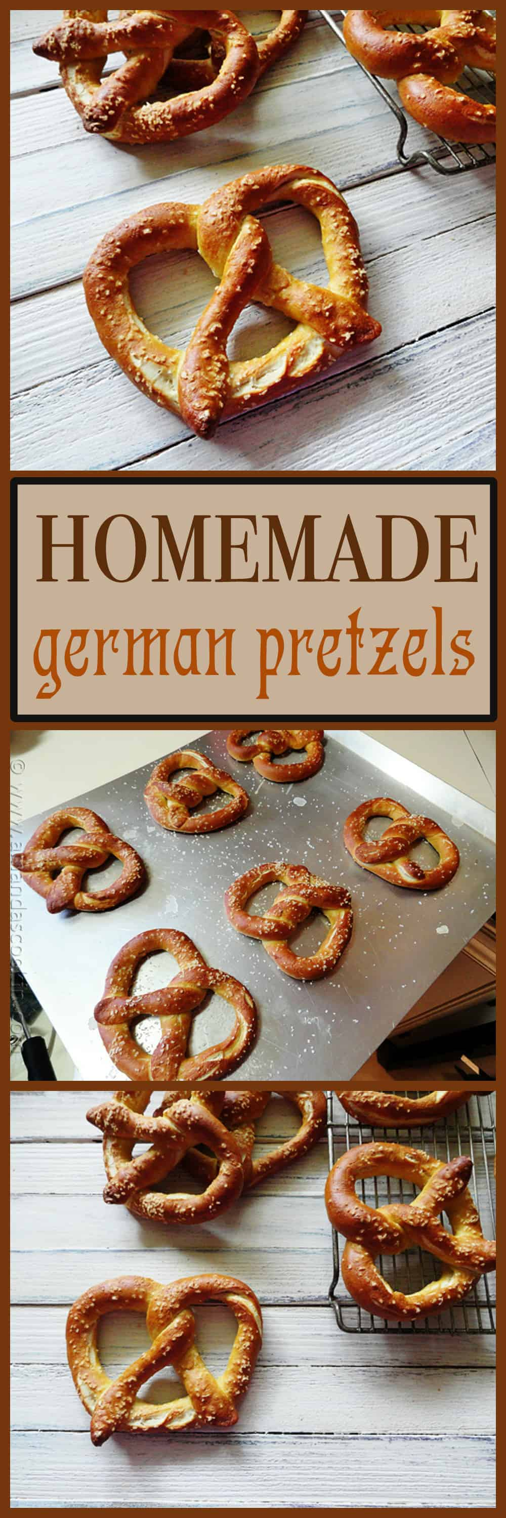 A photo of homemade German pretzels on a baking sheet.