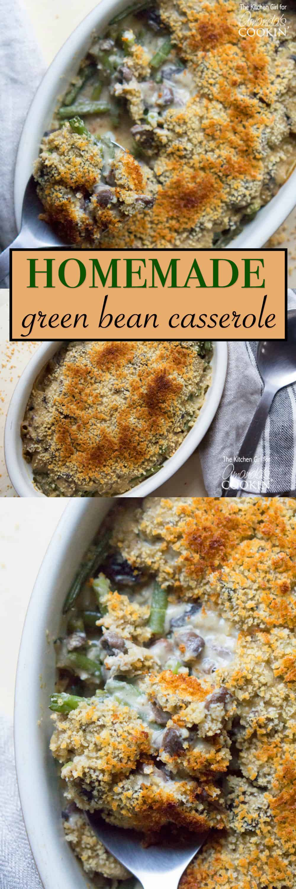 Everyone loves green bean casserole, but this year ditch the canned soup. Make this delicious homemade green bean casserole that everyone will love.