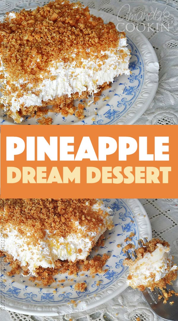 dessert made with pineapple, cream cheese and cool whip