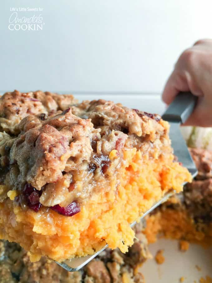 Sweet potatoes are a Thanksgiving tradition. This sweet potato casserole will be your new family favorite. Topped off with an oatmeal cookie crust!