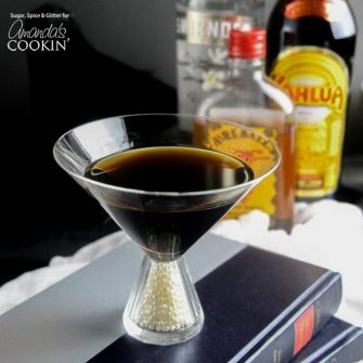 Serve this coffee cocktail, named The Raven for its sinister dark color, at your Halloween party. Kahlua and coffee liqueur flavor this java adult beverage.