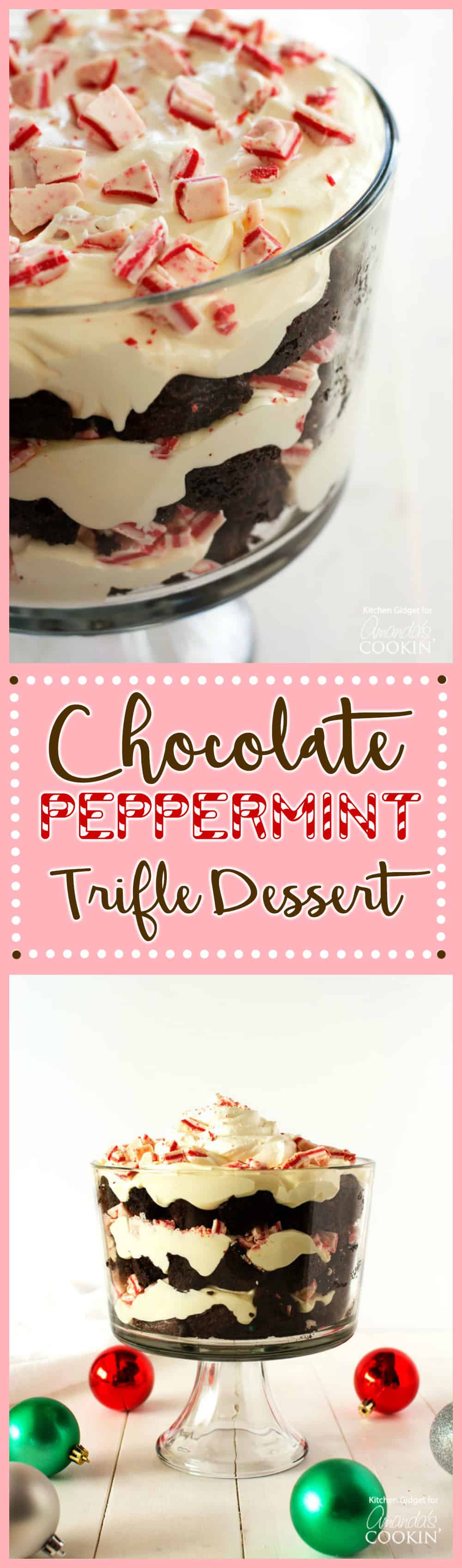 Photos of a chocolate peppermint trifle.