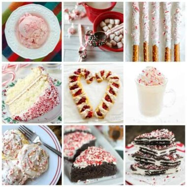 An assortment of photos of peppermint and candy cane recipes.