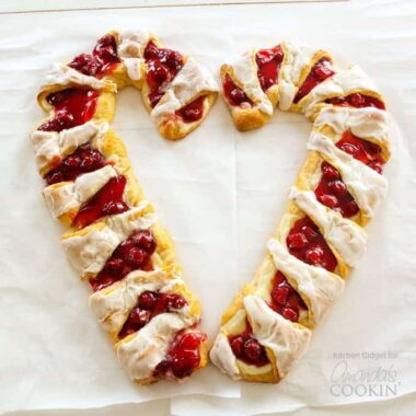 Try this festive Candy Cane Danish - cherry cheese pastry in the shape of a candy cane!