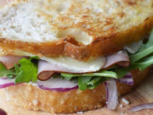 Toasted Cheddar Ham And Arugula Sandwich A Healthy Lunch