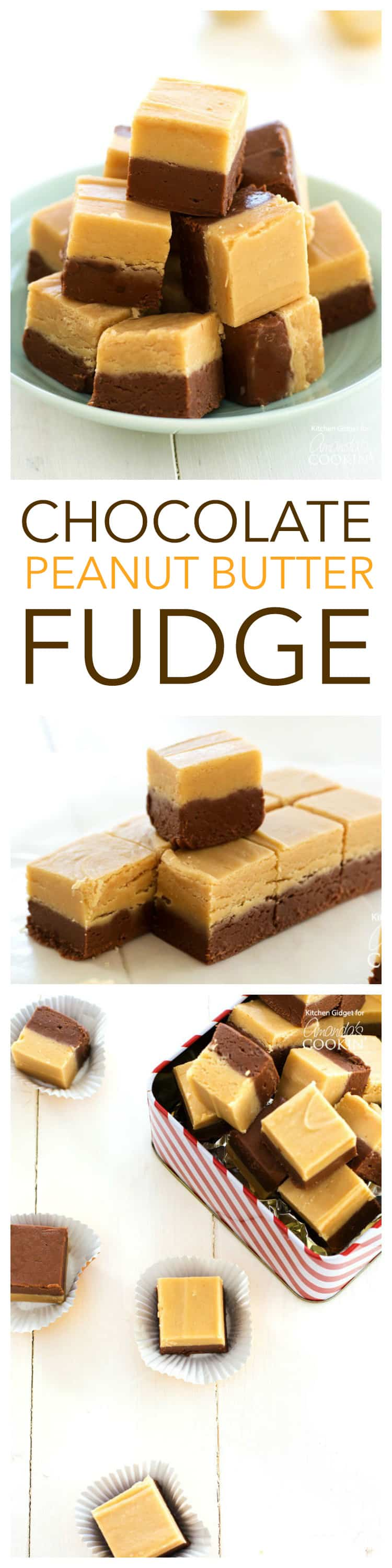 Chocolate Peanut Butter Fudge: easy homemade fudge