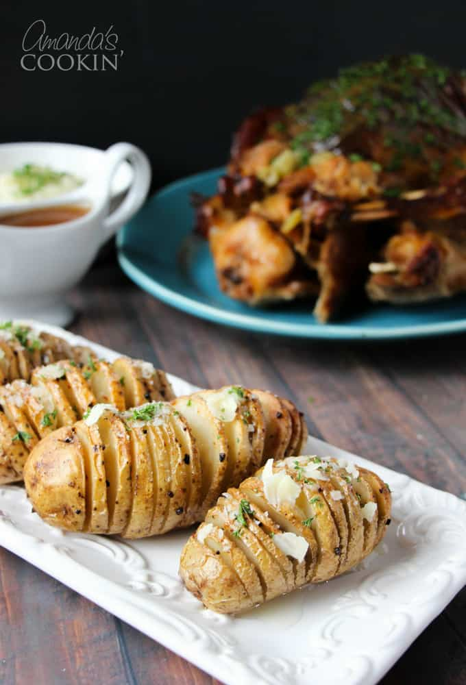 Learn how to make Hasselback potatoes, the Swedish version of a baked potato, right in your own kitchen. Our hasselback potato recipe is sure to please!