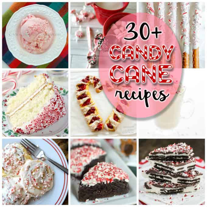 An assortment of photos of candy cane recipes.