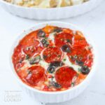This pizza dip would be great at a party or a potluck - although ensure that you can serve it hot - that's when the cheese is at it's ooey-gooeist!